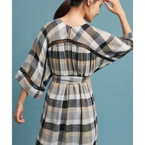 6f219d94ca8a Anthropologie Dresses - Anthropologie plaid Tie-Waist Kimono Tunic Dress